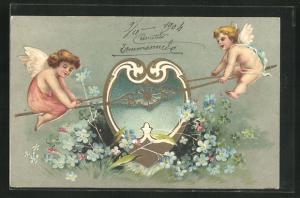 Präge-Lithographie Engel auf Wippe