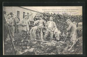 AK Camp de Coetquidan, Guerre Europeenne 1914-15, Prisonniers allemands fendant du bois a la Manutention