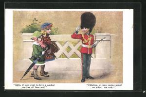 AK Fillettes, su vous voulez aimer un suldat, Soldat in Uniform salutiert vor zwei Mädchen, Kinder Kriegspropaganda