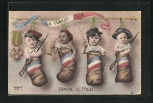 AK Graine de Poilu, Patrie La Classe 1935, Baby's mit Gewehr, Kinder Kriegspropaganda