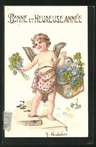 Präge-AK Neujahrsengel mit einem Korb Vergissmeinnicht und Glücksklee