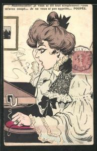 Künstler-AK Junge Frau am Telefon