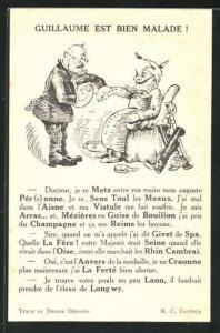 AK Guillaume est bien Malade ! Kaiser Wilhelm II., Propaganda Entente