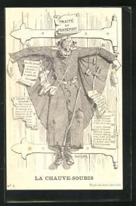 Künstler-AK Kaiser Wilhelm II. an ein Holztor genegelt, Propaganda Entente