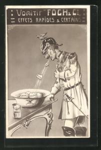 AK Kaiser Wilhelm II. in Uniform erbricht Kriegsgegner, Propaganda Entente