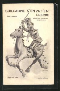 Künstler-AK Kaiser Wilhelm II. auf einem schweisstreibenden Pferd, Propaganda Entente