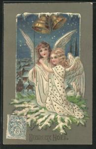 Präge-AK Weihnachtsengel läuten die Glocken, Heureux Noel