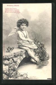 AK Engel hält einen Fisch in den Händen, Poisson d`Avril
