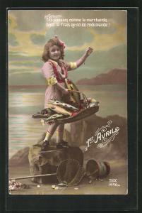 AK Mädchen winkt mit einem Korb voller Fische, 1. April