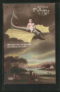 AK Kleinkind fliegt auf einem Fisch über die Landschaft, 1. April