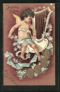 AK Osterengel spielt auf der Harfe, Joyeuses Paques