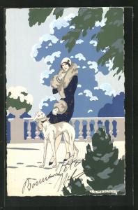 Künstler-AK sign. G. Meschini: Dame macht einen Spaziergang mit ihrem Hund, Art Deco