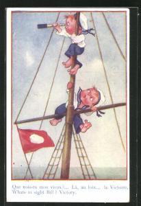 AK Kinder in Matrosenuniform mit Fernglas auf einem Mast, Kinder Kriegspropaganda
