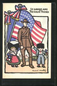 AK Le Grand Ami The Great Friend, Soldat mit Kinder, Fahne, Kinder Kriegspropaganda