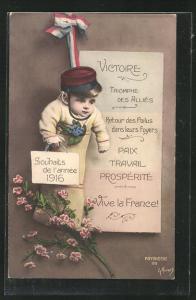 AK Souhaits de l'annee 1916, Kleinkind mit Schirmmütze, Kinder Kriegspropaganda