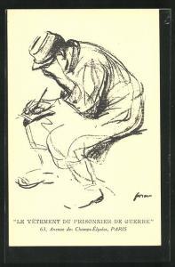 AK Paris, Le Vetement du Prisonnier de Gurerre, 63, Avenue des Champs-Elysees, Kriegsgefangener schreibt einen Brief