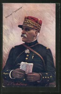 AK Heerführer de Castelnau in Uniform mit Landkarte in der Hand