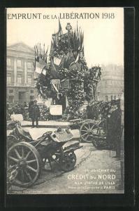 AK Emprunt de la Libèration 1918, Le Guichet du Credit du Nord a la Statue de Lille, Kriegsanleihe