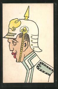 AK Soldat mit Pickelhaube in Uniform 1.Weltkrieg