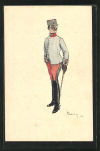 Künstler-AK Soldat in Uniform 1.Weltkrieg