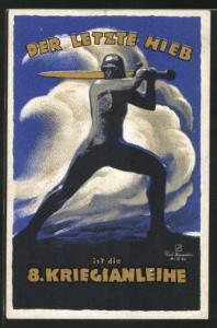AK Der letzte Hieb, Soldat mit Schwert, 8.Kriegsanleihe