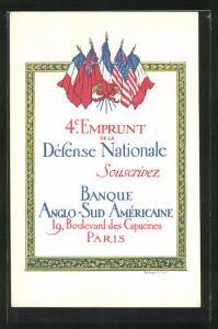 AK 4.Emprunt de la Dèfense Nationale Souscrivez, Banque Anglo-Sud Amèricaine, Kriegsanleihe