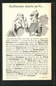 Künstler-AK Kaiser Wilhelm II. verwarnt junge Frau, Propaganda Entente
