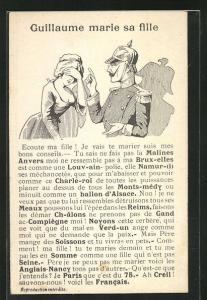 AK Kaiser Wilhelm II.verwarnt junge Frau, Propaganda Entente