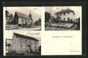 AK Hagenbach, Eglise, Mairie, Epicerie-Boulangerie