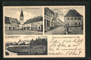 AK Wettolsheim O.-Els., Kirche mit Platz, Schloss, Gemeindehaus und Schule mit Platz