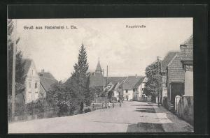 AK Habesheim i. Els., Hauptstrasse mit Blick zur Kirche