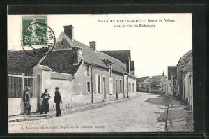 AK Bazainville, Entree du Village, prise de cote de Richebourg