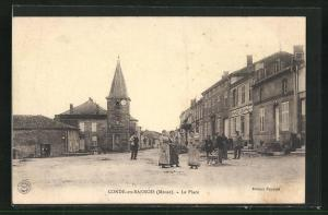 AK Conde-en-Barrois, La Place, Kirche