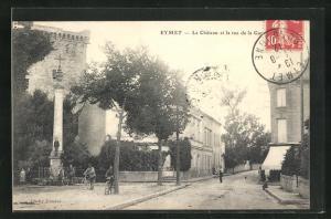 AK Eymet, Le Cháteau et la rue de la Gare