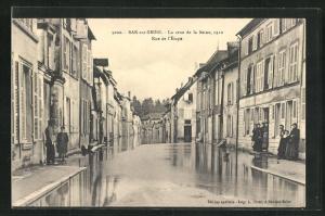 AK Bar-sur-Seine, La crue de la Seine 1910, Rue de l`Ètape