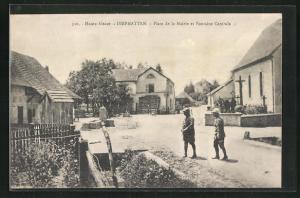 AK Diefmatten, Place de la Mairie et Fontaine Centrale