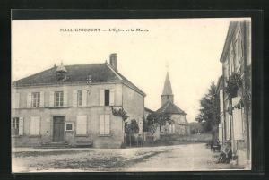AK Hallignicourt, l`Eglise et la Mairie