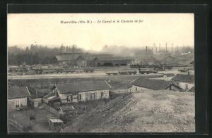 AK Eurville, Le Canal et le Chemin de Fer