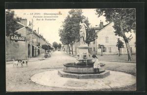 AK Le Jura, Champagnole, Fontaine monumentale, Rue de Pontarlier