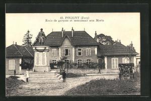 AK Poligny, Ecole de garcons et monument aux Morts