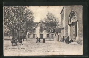 AK Pont-Eveque, Place de l`Eglise et Ecole de Garcons