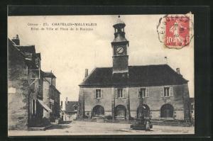 AK Chatelus-Malvaleix, Hotel de Ville et Place de la Fontaine