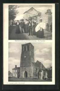 AK Vendeuvre-du-Poitou, Un Bapteme, Brautpaar und Kirche