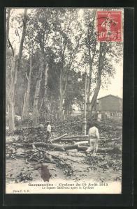 AK Carcassonne, Cyclone 1912, Le Square Gambetta apres le Cyclone