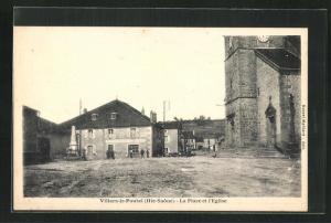 AK Villars-le-Pautel, La Place et l`Eglise