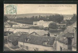 AK Mantes, Le Port, vue prise de la Place Notre Dame