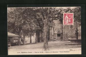 AK Vallieres, Place du Marche, L`Eglise et le Monument Pierre d`Aubusson