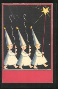 Künstler-AK sign. Boel Cronberg: Kinder mit Kerzen und spitzen Hüten, Stern