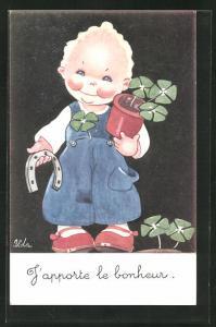 Künstler-AK sign. Ilda: Kleiner Junge mit Kleeblätter und Hufeisen, J`apporte le bonheur