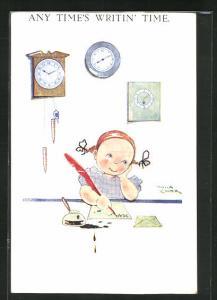 Künstler-AK sign. P. Cooper: Mädchen schreibt unter Uhren einen Brief, Any Time`s writin` Time